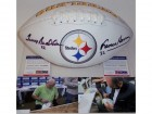 Franco Harris & Terry Bradshaw Autographed Hand Signed Pittsburgh Steelers Full Size Logo Football - PSA/DNA