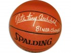 Autographed Nate Archibald Indoor/ Outdoor NBA Basketball Inscribed '81 NBA Champs