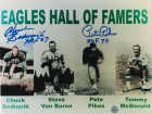 "Philadelphia Eagles 8x10 Photo Autographed by Chuck Bednarik Inscribed ""HOF 67"" & Pete Pihos Inscribed ""HOF 70"" -Eagles Hall of Famers-"
