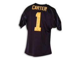 Autographed Anthony Carter Michigan University Blue Throwback Jersey