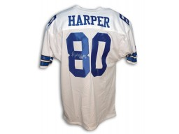 Autographed Alvin Harper Dallas Cowboys White Throwback Jersey