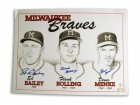 Milwaukee Braves 11x14 Lithograph Autographed by Ed Bailey, Frank Bolling & Denis Menke. There is a crease in the upper left corner as can be seen in the picture.