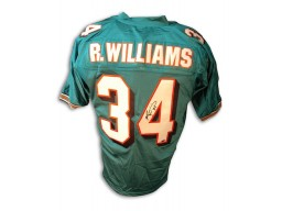 Ricky Williams Teel Dolphins Signed Football Jersey