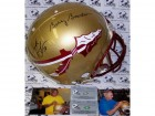 Bobby Bowden & Derrick Brooks Hand Signed Florida State Seminoles Black Authentic Helmet - PSA/DNA