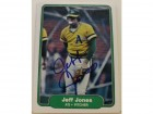 Jeff Jones Oakland Athletics Autographed 1982 Fleer Card #94. This item comes with a certificate of authenticity from Autograph-Sports.