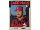 Jeff Lahti St. Louis Cardinals Autographed 1986 Topps Card #33.  This item comes with a certificate of authenticity from Autograph-Sports.