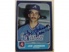 Joe Johnson Atlanta Braves Autographed 1986 Fleer Card #519.  This item comes with a certificate of authenticity from Autograph-Sports.