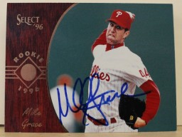 Mike Grace Philadelphia Phlillies Autographed 1996 Select Card #178. This item comes with a certificate of authenticity from Autograph-Sports.