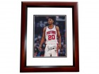 Allan Houston Signed - Autographed Detroit Pistons 8x10 inch Photo MAHOGANY CUSTOM FRAME - Guaranteed to pass PSA or JSA