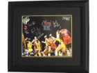 Reggie Johnson signed Philadelphia 76ers 16x20 Photo Custom Framed 1983 NBA Champions w/ 6 Signatures vs Lakers
