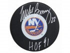 Mike Bossy Signed New York Islanders Large Logo Hockey Puck w/HOF'91