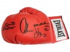 Sugar Ray Leonard, Roberto Duran and Thomas Hearns Signed Everlast Red Boxing Glove (PSA)