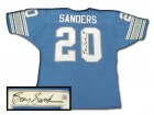 BARRY SANDERS SIGNED AUTHENTIC STYLE LIONS BLUE JERSEY