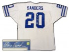 BARRY SANDERS SIGNED AUTHENTIC STYLE LIONS WHITE JERSEY