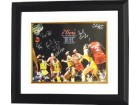 Bobby Jones signed Philadelphia 76ers 16x20 Photo Custom Framed 1983 NBA Champions w/ 6 Signatures vs Lakers