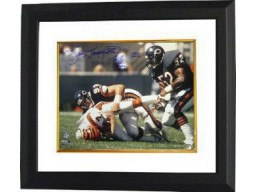 Dan Hampton signed Chicago Bears 16X20 Photo Custom Framed dual HOF 2002 & SB XX Champs