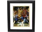 Magic Johnson signed Los Angeles Lakers 8x10 Photo Custom Framing - JSA Hologram  (post up dribble vertical vs Jordan)