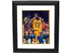 Magic Johnson signed Los Angeles Lakers 16x20 Photo Custom Framed (yellow jersey vertical close up)