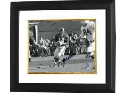 YA Tittle signed New York Giants Passing 8X10 B&W Photo Custom Framed
