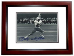 Billy WHITE SHOES Johnson Signed - Autographed Houston Oilers 8x10 inch Photo MAHOGANY CUSTOM FRAME - Guaranteed to pass PSA or JSA