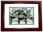 Mickey Mantle, Hank Bauer, and Moose Skowron Signed - Autographed New York Yankees 8x10 inch Photo MAHOGANY CUSTOM FRAME - PSA/DNA Full Letter Certificate of Authenticity (COA)