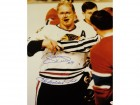 Bobby Hull Autographed Chicago Blackhawks 16x20 BLOODY FACE Photo with THE GOLDEN JET Inscription
