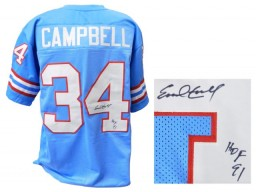 Earl Campbell Signed Blue Throwback Custom Football Jersey w/HOF'91