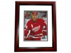 Chris Chelios Signed - Autographed Detroit Red Wings 8x10 inch Photo MAHOGANY CUSTOM FRAME - Guaranteed to pass PSA or JSA