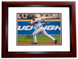 Chipper Jones Signed - Autographed Atlanta Braves 8x10 inch Photo MAHOGANY CUSTOM FRAME - Guaranteed to pass PSA or JSA - 1995 World Series Champion