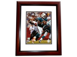 Daunte Culpepper Signed - Autographed Miami Dolphins 8x10 Action Photo MAHOGANY CUSTOM FRAME - Guaranteed to pass PSA or JSA (vs Bucs)