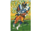 Eric Dickerson Autographed Los Angeles Rams Goal Line Art Card in Blue w/HOF 99