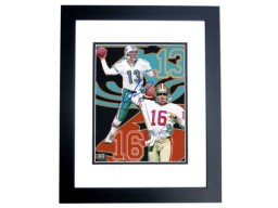 Dan Marino and Joe Montana DUAL Signed - Autographed 8x10 inch Photo BLACK CUSTOM FRAME - Guaranteed to pass PSA or JSA - Miami Dolphins - San Francisco 49ers