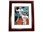 Dan Marino and Joe Montana DUAL Signed - Autographed 8x10 inch Photo MAHOGANY CUSTOM FRAME - Guaranteed to pass PSA or JSA - Miami Dolphins - San Francisco 49ers