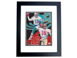 Dan Marino and Joe Montana DUAL Signed - Autographed 8x10 inch Photo BLACK CUSTOM FRAME - Online Authentics Authenticated - Guaranteed to pass PSA or JSA