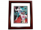 Dan Marino and Joe Montana DUAL Signed - Autographed 8x10 inch Photo MAHOGANY CUSTOM FRAME - Online Authentics Authenticated - Guaranteed to pass PSA or JSA