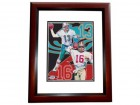 Dan Marino and Joe Montana DUAL Signed - Autographed 8x10 inch Photo MAHOGANY CUSTOM FRAME - PSA/DNA Certificate of Authenticity (COA)