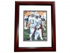 Dan Marino and Mark Clayton DUAL Signed - Autographed Miami Dolphins 8x10 inch Photo MAHOGANY CUSTOM FRAME - Guaranteed to pass PSA or JSA