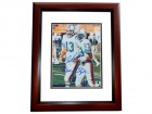 Dan Marino and Mark Clayton DUAL Signed - Autographed Miami Dolphins 8x10 inch Photo MAHOGANY CUSTOM FRAME - Online Authentics Authenticated - Guaranteed to pass PSA or JSA