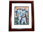 Dan Marino and Mark Clayton DUAL Signed - Autographed Miami Dolphins 8x10 inch Photo MAHOGANY CUSTOM FRAME - PSA/DNA Certificate of Authenticity (COA)