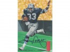 Tony Dorsett Autographed Dallas Cowboys Goal Line Art Card Blue JSA