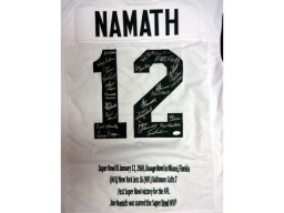 1969 Super Bowl Champion New York Jets Autographed White Jersey With 25 Signatures Including Joe Namath PSA/DNA Stock #51696