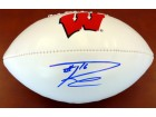 Russell Wilson Autographed Logo Football Wisconsin Badgers RW Holo Stock #60988