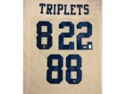 Triplets Autographed White Dallas Cowboys Jersey With 3 Signatures Including Troy Aikman, Emmitt Smith & Michael Irvin PSA/DNA Stock #64805