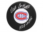 Dick Duff Signed Montreal Canadians Large Logo Hockey Puck w/HOF 2006