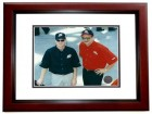 Dale Earnhardt Jr. and Dale Earhardt Sr. Unsigned 8x10 inch Photo MAHOGANY CUSTOM FRAME - RARE Licensed Photo