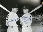 Mickey / Dimaggio, Joe Mantle Signed B&W 11x14 Photo By Mickey Mantle and Joe Dimaggio