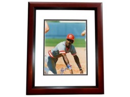 Eric Davis Signed - Autographed Cincinnati Reds 8x10 inch Photo MAHOGANY CUSTOM FRAME - Guaranteed to pass PSA or JSA - 1990 World Series Champion