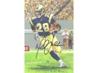 Marshall Faulk Autographed St Louis Rams Goal Line Art Black