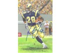 Marshall Faulk Autographed St Louis Rams Goal Line Art Blue