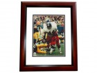 Floyd Little Autographed Denver Broncos 8x10 Photo MAHOGANY CUSTOM FRAME